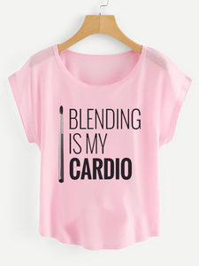 Fifth Avenue Women's Blending Is My Cardio Printed Dolman T-Shirt - Pink