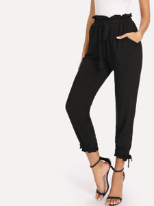 Fifth Avenue Womens HIKK Tie Waist and Elastic Ankle Pants - Black