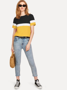 Fifth Avenue Womens JISK Color Block T-Shirt - Yellow and Black