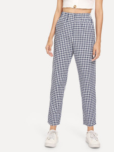 Fifth Avenue Elastic Waist Cotton Gingham Pants - Blue and White