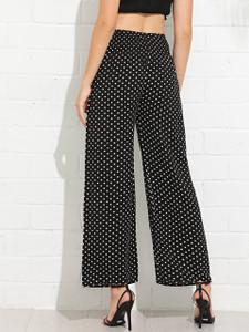 Fifth Avenue Womens MIKO Draw String Polka Dot Wide Leg Pants