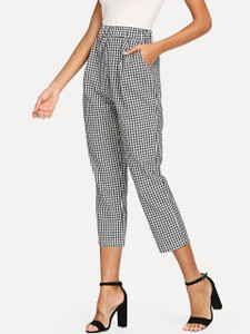 Fifth Avenue Elastic Waist Cotton Gingham CAPRI Pants - Black and White