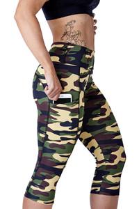 Fifth Avenue N988 Active Crop Yoga Pants - Deep Camo