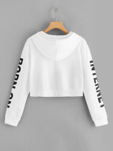 Fifth Avenue Cropped Born On Internet Sleeve Print Hoodie - White