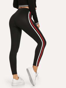 Fifth Avenue U880 Active Dual Contrasting Striped Yoga Pants - Black