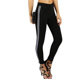 Fifth Avenue U891 Active Dual Striped Yoga Pants - Black