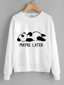 Fifth Avenue Maybe Later Panda Printed Sweatshirt - White