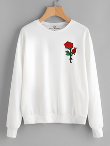 Fifth Avenue HITCHA Rose Embroidered Sweatshirt - White