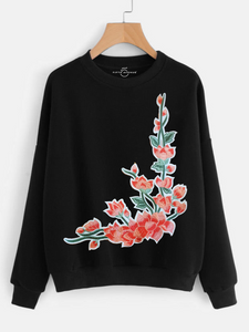 Fifth Avenue NINT1 Floral Embroidered Sweatshirt - Black