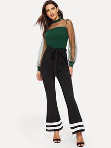 Fifth Avenue Women's AVNO5 Color Block Flare Pants - Black