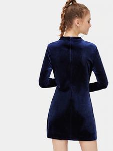 Fifth Avenue VVA6 Front Twist Velvet Dress Tunic - Blue