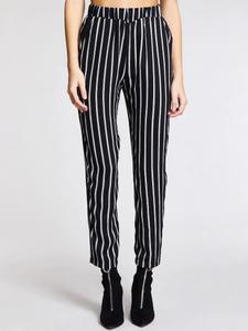 Fifth Avenue Women's AVNO6 Striped Straight Leg Pants - Black