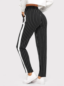 Fifth Avenue Cotton Pinstripe Print CTWP4 Elastic Waist Contrast Panel Pants - Black