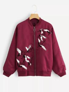 Fifth Avenue Women's Crane Print Fleece Bomber Jacket LNA1002 - Maroon
