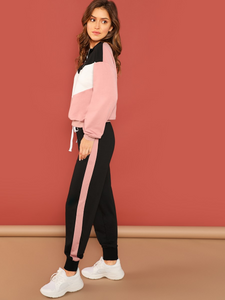 Fifth Avenue Women's TPS32 Color Block Zip Sweatshirt and Jogger Pants 2 Piece Co-Ord Sets - Pink and Black