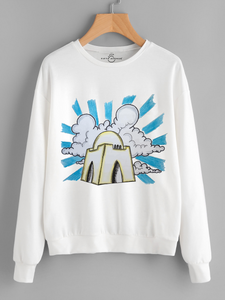 Fifth Avenue Mazar Quaid Vector Printed Sweatshirt - White