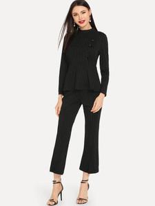 Fifth Avenue Pin Stripe Button Top and Pants 2 Piece Set TPS35 - Black