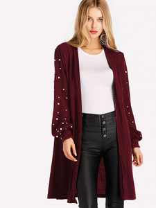 Fifth Avenue Women's RAPT25 Winter Beaded Cardigan - Maroon