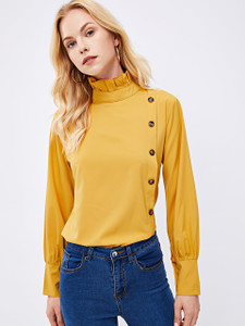 Fifth Avenue Women's UVA167 Button Up Ruffle Neck Blouse - Yellow
