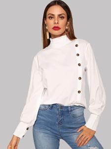 Fifth Avenue Women's UVA167 Button Up Ruffle Neck Blouse - White