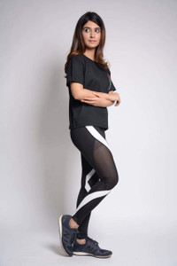 Fifth Avenue U902 Contrast Panel and Mesh Active Yoga Pants - Black