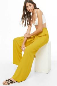 Fifth Avenue Georgette Wide Leg Tie Waist GTTWP1 Elastic Waist Pants - Mustard