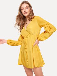 Fifth Avenue Women's UVA1192 Self Belted Wrap Dress Tunic - Yellow