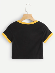 Fifth Avenue Women's STS57 Crop Ringer T-Shirt - Black and Yellow