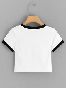 Fifth Avenue Women's STS57 Crop Ringer T-Shirt - White and Black