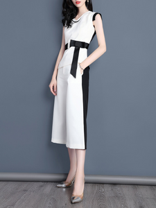 Fifth Avenue Self Tie Sleeveless Color Block Top and Pants 2 Piece Set TPS103 - White and Black