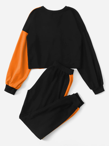 Fifth Avenue Women's TPS112 Cross Panel Full Sleeve Color Block Top and Jogger Pants 2 Piece Co-Ord Sets - Black and Orange