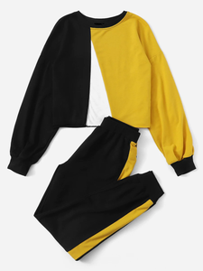 Fifth Avenue Women's TPS112 Cross Panel Full Sleeve Color Block Top and Jogger Pants 2 Piece Co-Ord Sets - Black and Yellow