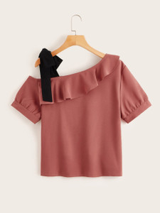 Fifth Avenue Women's UVA1270 Shoulder Tie Blouse - Pink