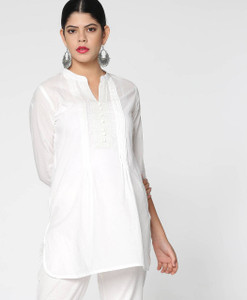 Fifth Avenue Women's UVA1274 Pintuck Lawn Kurti - White