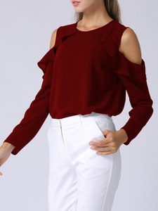 Fifth Avenue Women's UVA1286 Cold Shoulder Ruffle Detail Blouse - Maroon