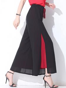 Fifth Avenue Georgette GTTWP5 Color Block Panel Wide Leg Pants - Black and Red