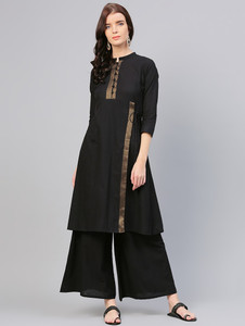 Fifth Avenue Women's TPS130 Lace Detail Kurti and Palazzo Set - Black