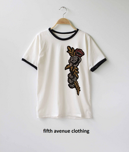 Fifth Avenue RIPZT23 Embroidered Ringer T-Shirt - White and Black