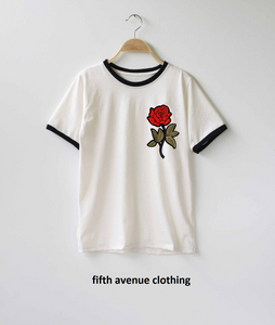 Fifth Avenue RIPZT20 Embroidered Ringer T-Shirt - White and Black