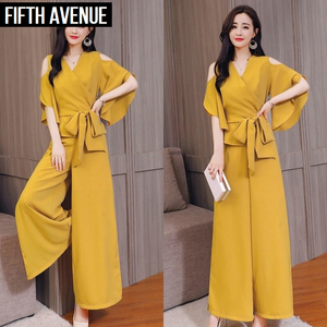 Fifth Avenue Cold Shoulder Top and Pants 2 Piece Set TPS122 - Yellow