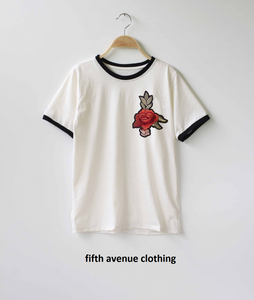 Fifth Avenue RIPZT37 Embroidered Ringer T-Shirt - White and Black