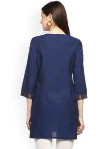 Fifth Avenue Women's WOMK12 Cotton Lace Panel Kurti - Blue