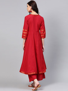 Fifth Avenue Women's TPS174 Lace Detail Kurti and Palazzo Set - Red