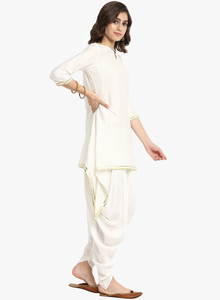 Fifth Avenue Women's TPS192 Lace Detail Kurti and Dhoti Pants Set - White