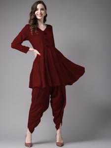 Fifth Avenue Women's TPS237 Tassel Detail Kurti and Dhoti Pants Set - Maroon