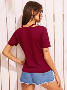 Fifth Avenue Women's Cut Out Neck STS82 T-Shirt - Maroon