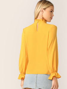 Fifth Avenue Women's UVA1336 Ruffle Neck and Sleeve Top - Yellow