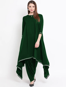 Fifth Avenue Women's TPS205 Gotta Lace Asymmetric Kurti and Pants Set - Green