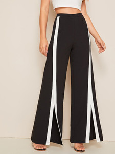 Fifth Avenue GTTWP23 Contrast Binding Wide Leg Pants - Black and White