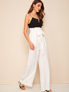 Fifth Avenue Georgette GTTWP17 Self Belted Extra Wide Leg Pants - White